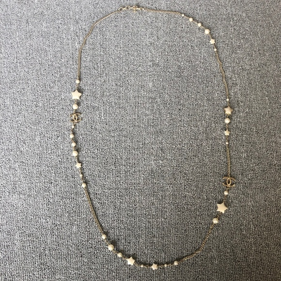 CHANEL Jewelry - Pearl Crystal CC Star Long Necklace Gold